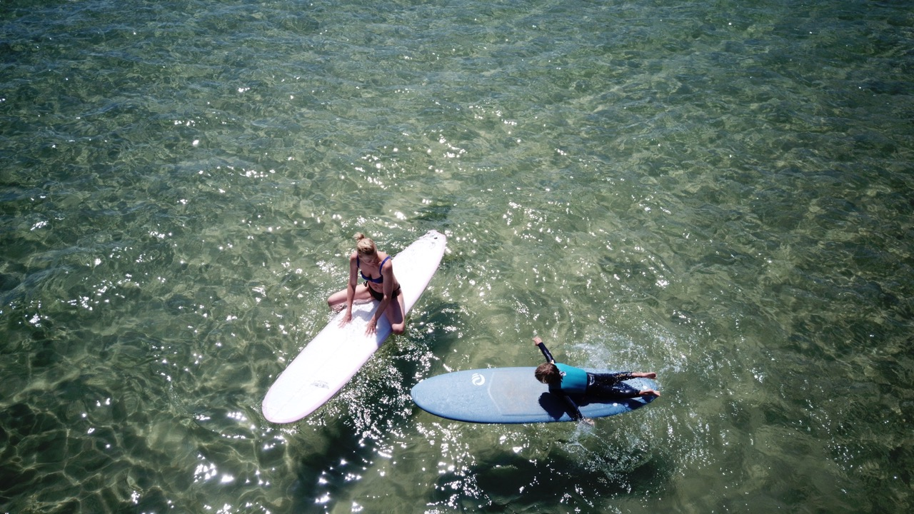 Surfing Mom with Child